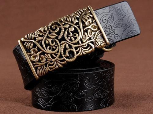 Women floral Embossed Cow Skin Belt With Woven Design Pin Buckle-black-85cm 20to22 Inch-JadeMoghul Inc.