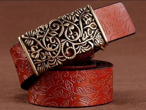 Women floral Embossed Cow Skin Belt With Woven Design Pin Buckle-brown-85cm 20to22 Inch-JadeMoghul Inc.