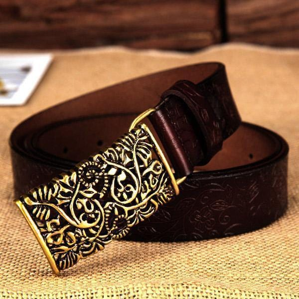 Women floral Embossed Cow Skin Belt With Woven Design Pin Buckle-coffee-100cm 26to28 Inch-JadeMoghul Inc.