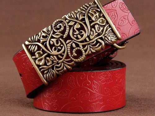 Women floral Embossed Cow Skin Belt With Woven Design Pin Buckle-red-85cm 20to22 Inch-JadeMoghul Inc.