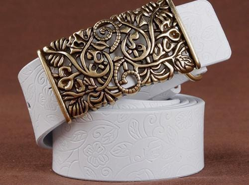 Women floral Embossed Cow Skin Belt With Woven Design Pin Buckle-white-85cm 20to22 Inch-JadeMoghul Inc.