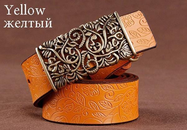 Women floral Embossed Cow Skin Belt With Woven Design Pin Buckle-yellow-85cm 20to22 Inch-JadeMoghul Inc.
