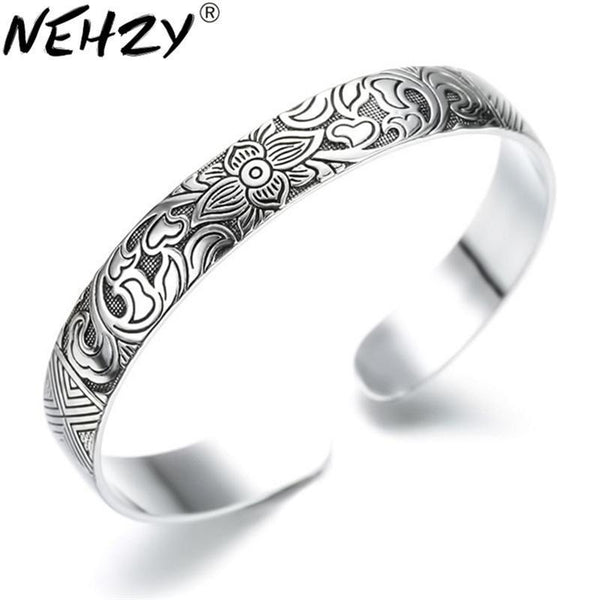 Women Floral Engraved Antique Silver Cuff Bracelet--JadeMoghul Inc.