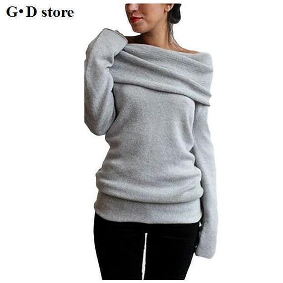 Women Fold Over Collar Full Sleeved Sweater-a-M-JadeMoghul Inc.