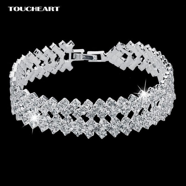 Women Formal Luxury Austrian Crystal Bracelets In Silver-SR-JadeMoghul Inc.