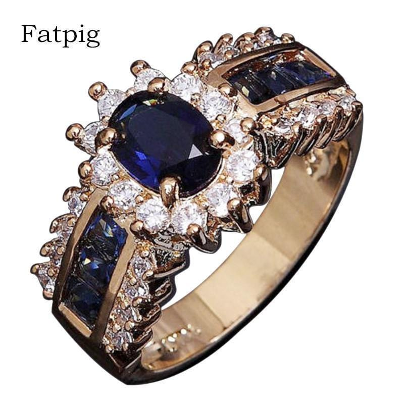 Women Formal Sapphire And Zircon Party Ring-6-JadeMoghul Inc.