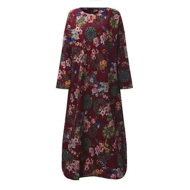 Women Full Sleeves Floral Print Cotton Maxi Dress AExp