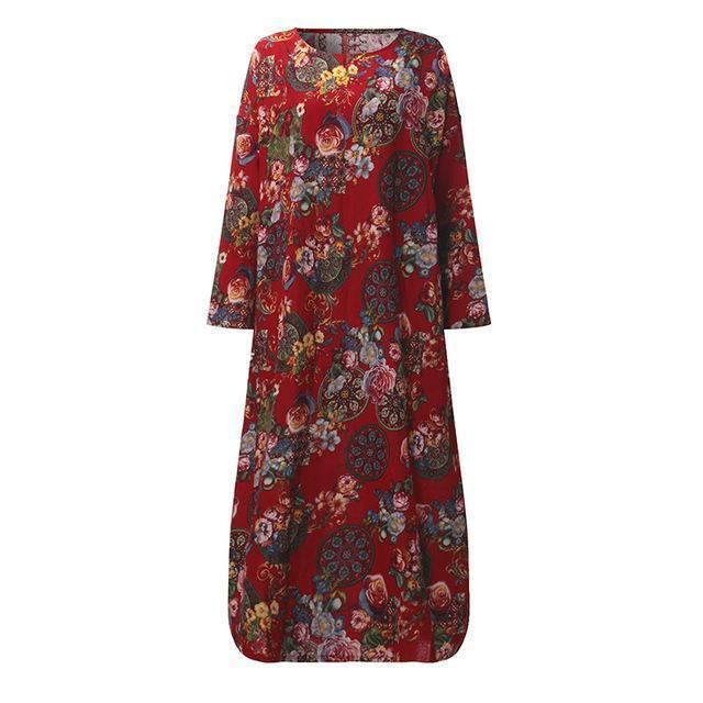Women Full Sleeves Floral Print Cotton Maxi Dress-Red-S-JadeMoghul Inc.