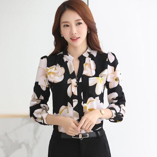 Women Full Sleeves Floral V Neck Chiffon Shirt Top-Black-S-JadeMoghul Inc.