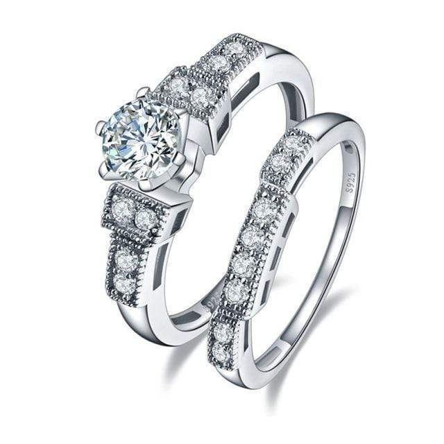 Women Genuine 925 Sterling Silver Wedding Band Set AExp