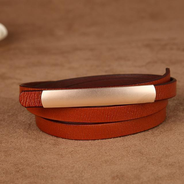 Women Genuine Cow Hide Leather Belt With Metal Clasp Closure-brown-JadeMoghul Inc.