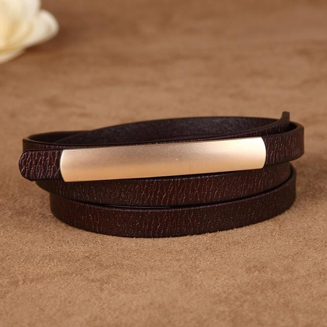 Women Genuine Cow Hide Leather Belt With Metal Clasp Closure-coffee-JadeMoghul Inc.