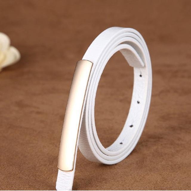 Women Genuine Cow Hide Leather Belt With Metal Clasp Closure-white-JadeMoghul Inc.