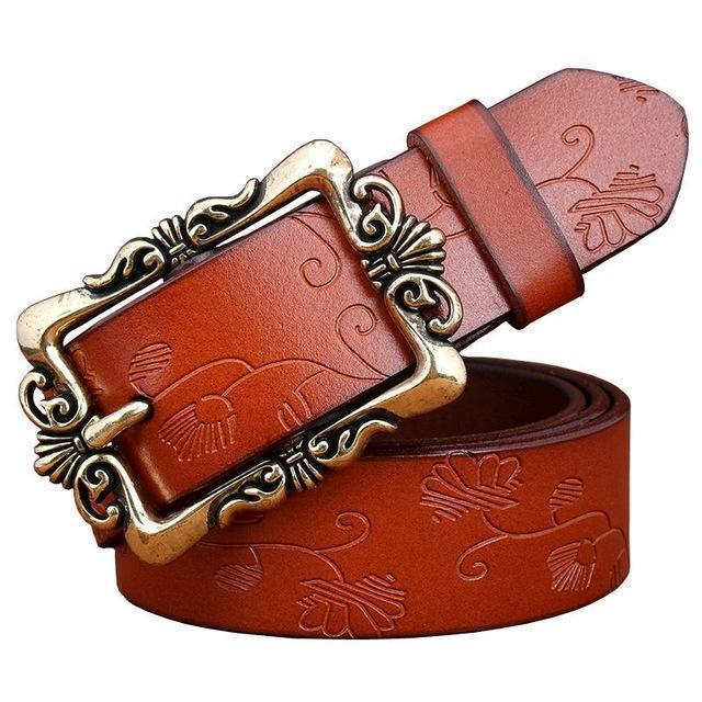 Women genuine Cow Leather Floral design Belt With Victorian Style Heavy Pin Buckle-Brown Small Flower-100cm-JadeMoghul Inc.