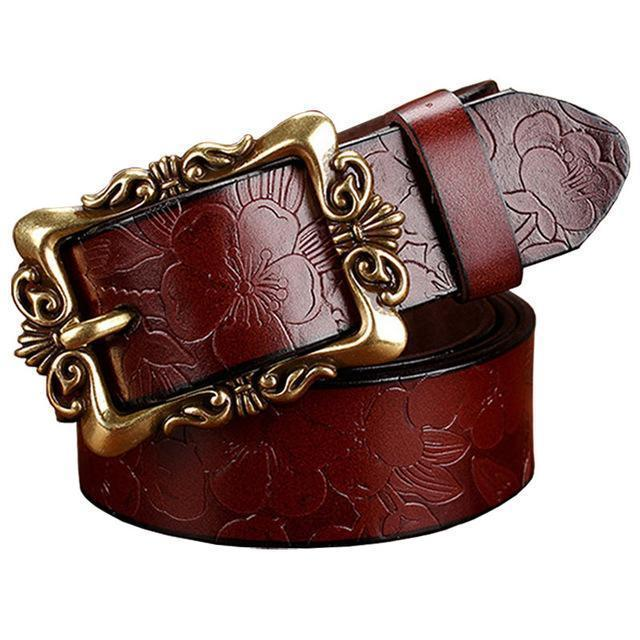 Women genuine Cow Leather Floral design Belt With Victorian Style Heavy Pin Buckle-Coffee Big Flower-100cm-JadeMoghul Inc.