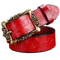 Women genuine Cow Leather Floral design Belt With Victorian Style Heavy Pin Buckle-Red Big Flower-100cm-JadeMoghul Inc.