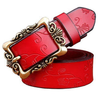 Women genuine Cow Leather Floral design Belt With Victorian Style Heavy Pin Buckle-Red Small Flower-100cm-JadeMoghul Inc.