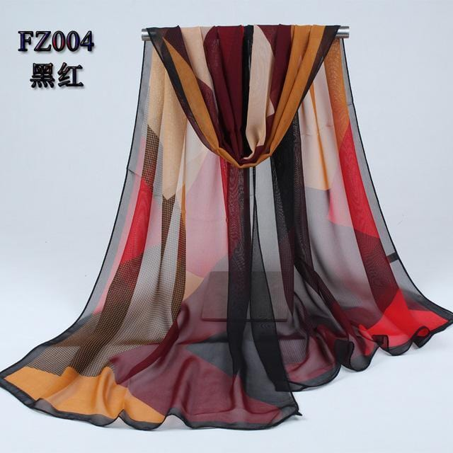 Women Geometric Print Summer chiffon Scarf-FZ004 black red-JadeMoghul Inc.