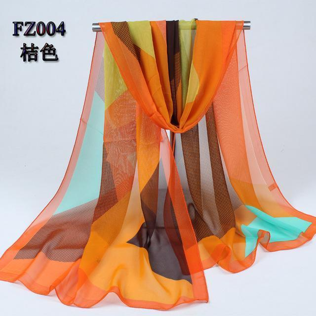 Women Geometric Print Summer chiffon Scarf-FZ004 orange-JadeMoghul Inc.