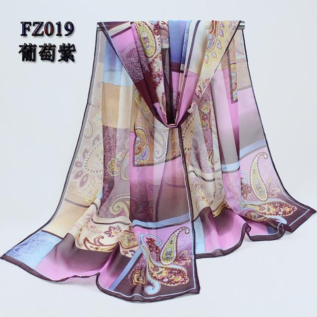 Women Geometric Print Summer chiffon Scarf-FZ019 purple-JadeMoghul Inc.