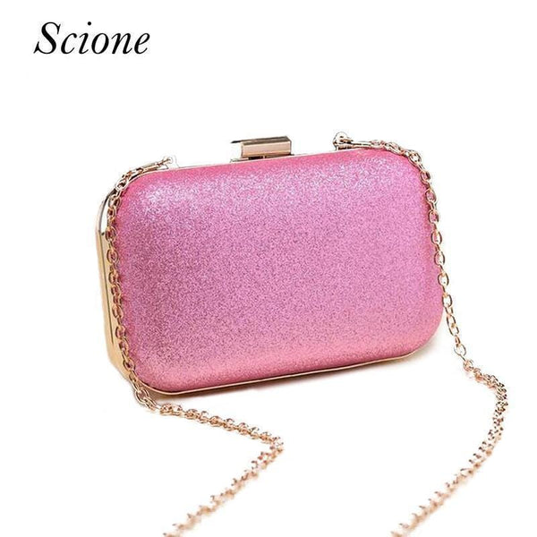 Women Glitter Metal Evening Clutch Bag-pink-JadeMoghul Inc.