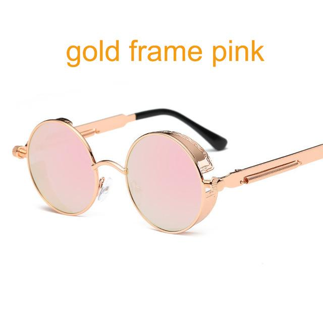 Women Gothic Steam Punk Round Shaped Sunglasses-6631 gold f pink-JadeMoghul Inc.