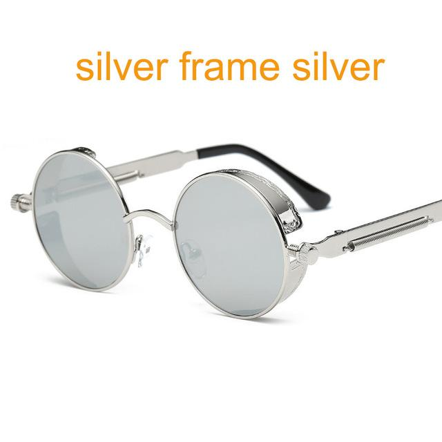 Women Gothic Steam Punk Round Shaped Sunglasses-6631 silver f sliver-JadeMoghul Inc.