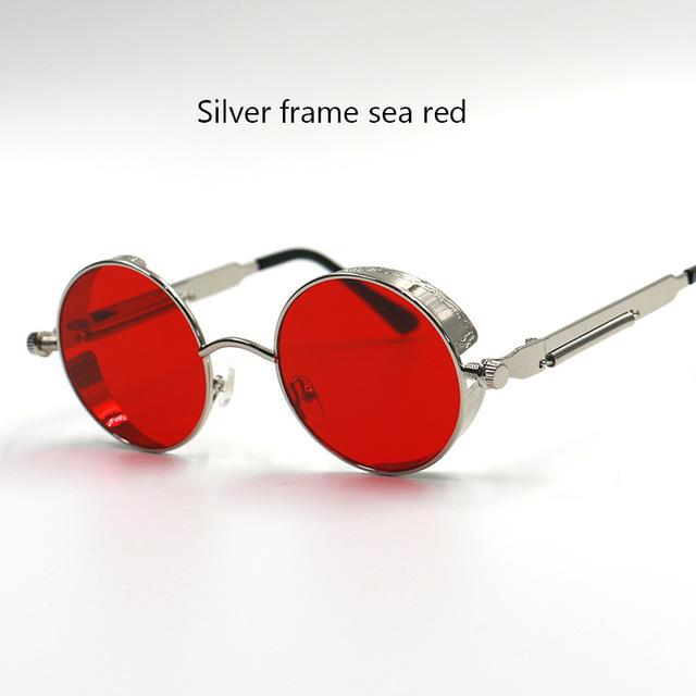 Women Gothic Steam Punk Round Shaped Sunglasses-6631 silver red-JadeMoghul Inc.
