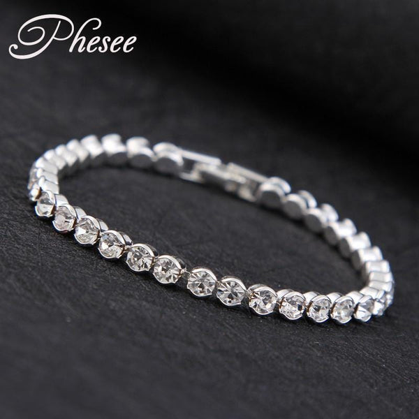 Women High quality Silver Plated Fashion Austrian Crystal Tennis Bracelet-A-JadeMoghul Inc.