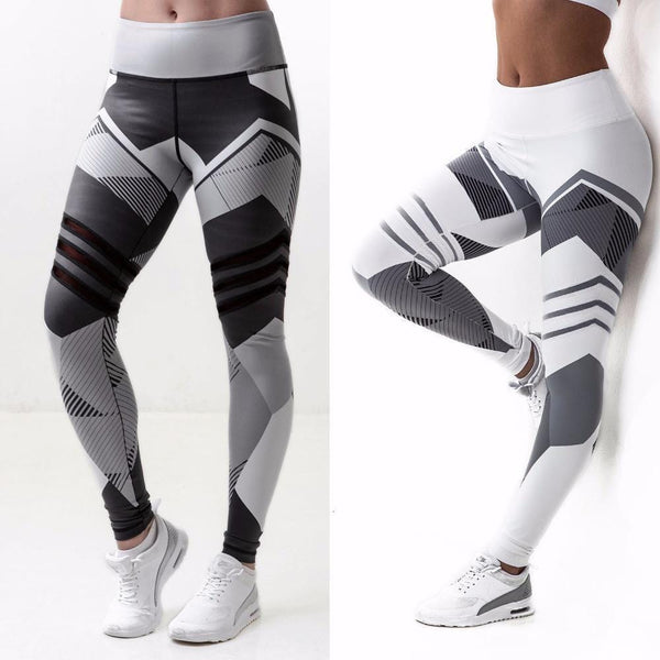 Women High Waist Geometric Design Leggings/ Workout Pants-Black-L-JadeMoghul Inc.