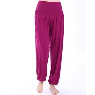 Women Jersey Harem Pants In Solid Colors-W00239 zi hong se-S-JadeMoghul Inc.