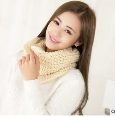 Women knit Infinity Snood Scarf-beige-JadeMoghul Inc.
