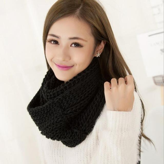 Women knit Infinity Snood Scarf-black-JadeMoghul Inc.
