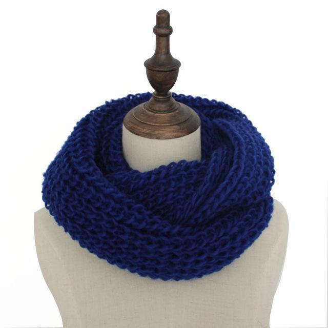 Women knit Infinity Snood Scarf-blue-JadeMoghul Inc.
