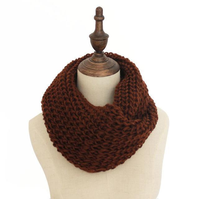 Women knit Infinity Snood Scarf-coffee-JadeMoghul Inc.