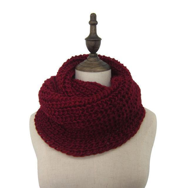 Women knit Infinity Snood Scarf-deep red-JadeMoghul Inc.