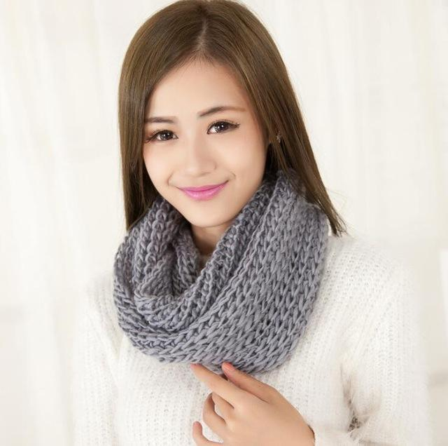 Women knit Infinity Snood Scarf-gray-JadeMoghul Inc.