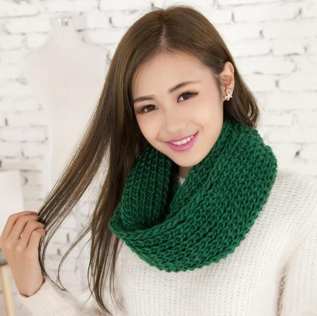 Women knit Infinity Snood Scarf-green-JadeMoghul Inc.