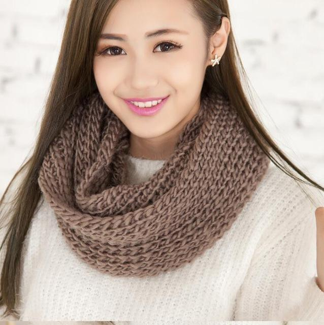 Women knit Infinity Snood Scarf-khaki-JadeMoghul Inc.