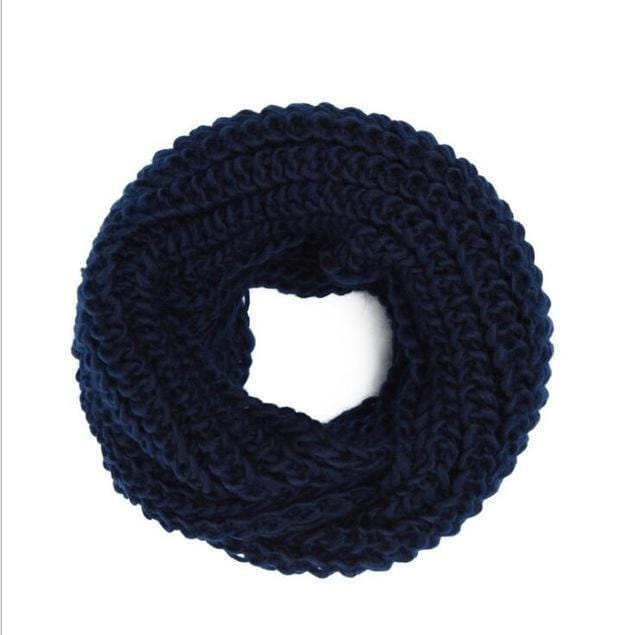 Women knit Infinity Snood Scarf-navy-JadeMoghul Inc.