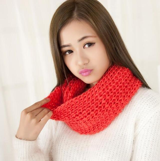 Women knit Infinity Snood Scarf-watermelon-JadeMoghul Inc.