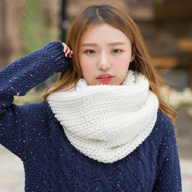 Women knit Infinity Snood Scarf-white-JadeMoghul Inc.