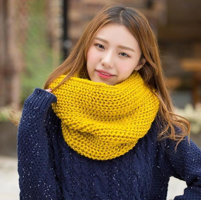 Women knit Infinity Snood Scarf-yellow-JadeMoghul Inc.