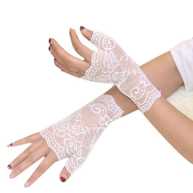 Women Lace Finger Less Gloves-White-JadeMoghul Inc.