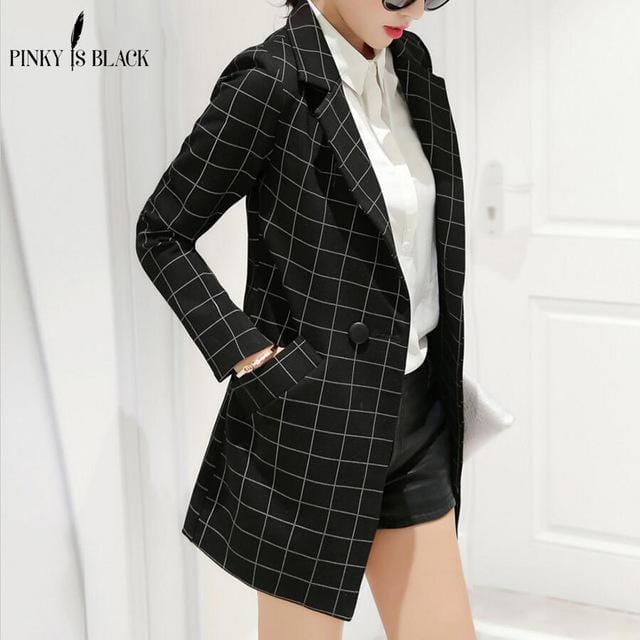 Women Lattice Design Long Blazer Jacket-blazer-Black-S-JadeMoghul Inc.