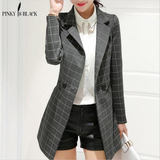 Women Lattice Design Long Blazer Jacket-blazer-Gray-S-JadeMoghul Inc.