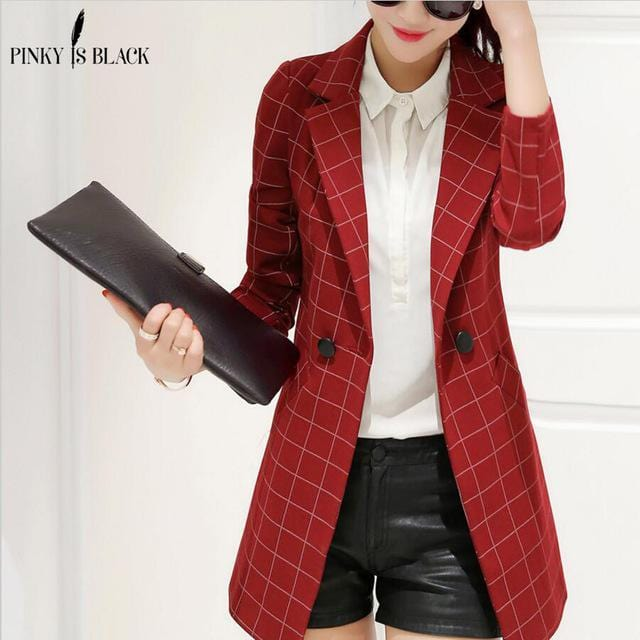 Women Lattice Design Long Blazer Jacket-blazer-Red-S-JadeMoghul Inc.