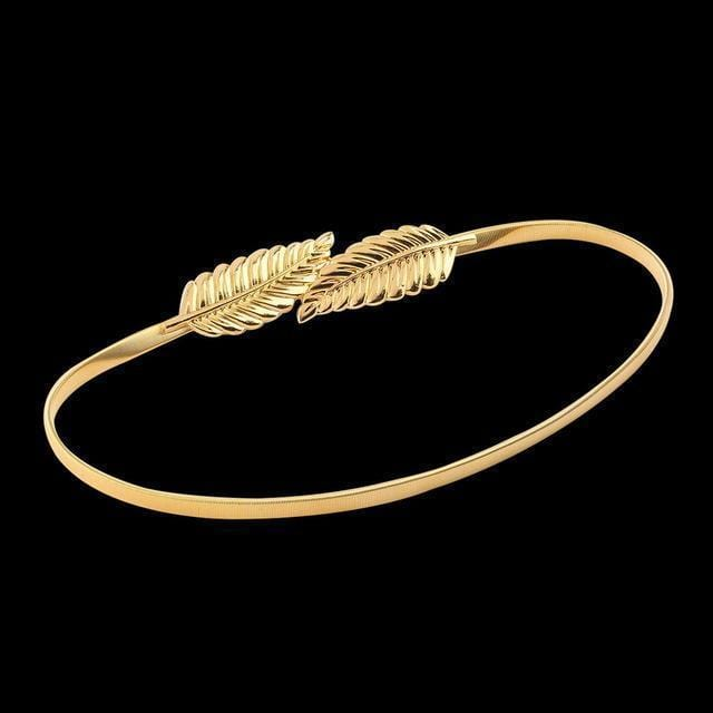 Women Leaf Design Metal Belt With Elastic Stretch And Clasp Closure-Gold-JadeMoghul Inc.