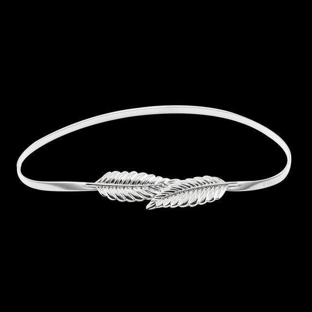 Women Leaf Design Metal Belt With Elastic Stretch And Clasp Closure-Silver-JadeMoghul Inc.