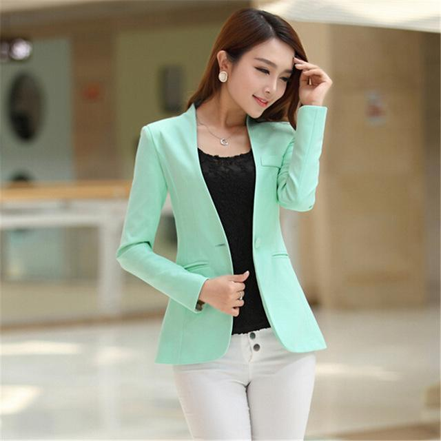 Women Light Weight Blazer In Candy Colors-light green-S-JadeMoghul Inc.